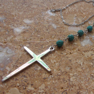 Jewelry - Real Silver cross and chain with turquoise beads